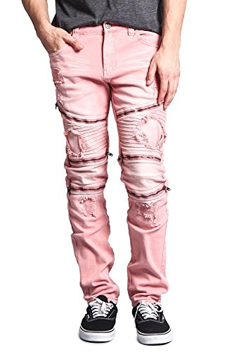 8e680d3d29d Victorious G-Style USA Men's Faded Wash Distressed Denim Biker Style High  Fashion Jeans DL1088