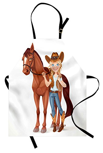 Lunarable Horse Apron, Teen Cowgir Holds Reins Saddled Horse Western Theme Cartoon Style Funny Character, Unisex Kitchen Bib Apron with Adjustable Neck for Cooking Baking Gardening, -