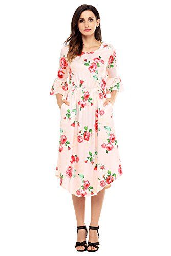 Annflat Women's Bohemian Floral Print Crewneck Short Sleeve Casual Midi Dress XX-Large Pink