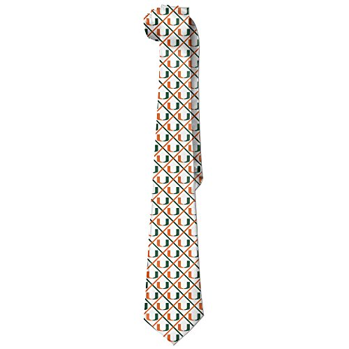 ONESEDA Men's University Of Miami Tie Necktie Ties