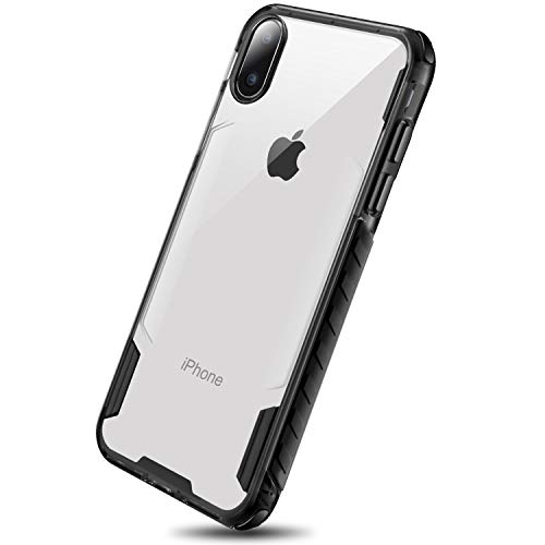DAUPIN for iPhone Xs Case iPhone X Clear Case Protective Heavy Duty TPU Shatterproof Bumper Edges Crystal Clear Hard PC Back Cover for Apple iPhone Xs/X Black+Clear