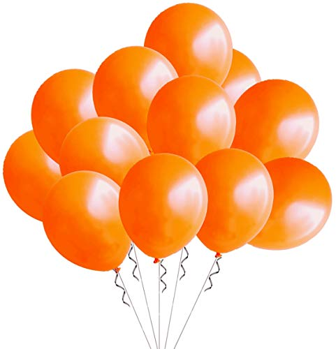 (Elecrainbow 100 Pack 12 Inch 3.2 g/pc Thicken Round Pearlescent Latex Orange Balloons for Party Decorations, Orange )