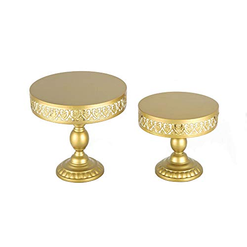 18K Gold Antique Metal Cake Stand, Round Cupcake Stands, Wedding Birthday Party Dessert Cupcake Pedestal/Display/Plate ((Set of 2)18K Gold Heart-shaped Decor 01)