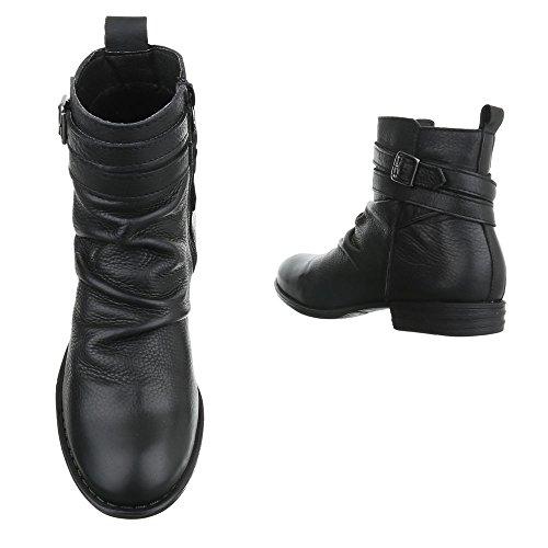 Mujer negro Ital Botas plisadas Design x0qwpvaHX