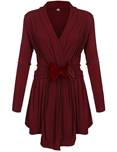 Henwei Womens Classic Long Sleeve Open Front Outwear Travel Cardigan (S-2XL) Wine Red S
