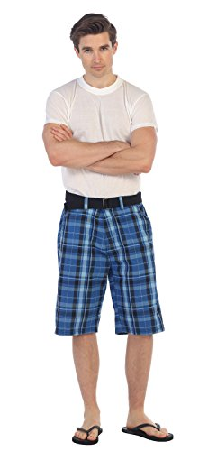 (Gioberti Mens Plaid Shorts with Belt, Blue/Navy Striped, Size 30)