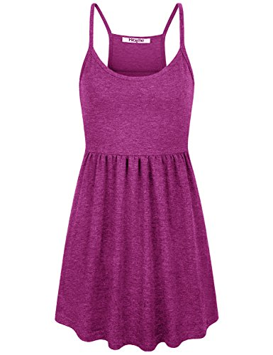 - Hibelle Flowy Tank Top, Womens Racerback Cami Casual Summer Holiday Relaxed Fit Shirt Maternity Sleeveless Spaghetti Strap Camisole Girls Cute Basic A Line Pleats Draped Tunic Rose Red Large