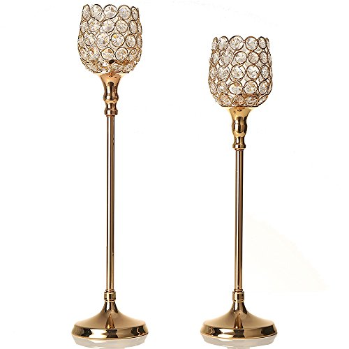 VINCIGANT Gold Crystal Tea Light Candlesticks Pillar for Valentines Day Wedding Holiday Home Decor Gifts,16.5 & 18.5 Inches - Frame Ornament Glass