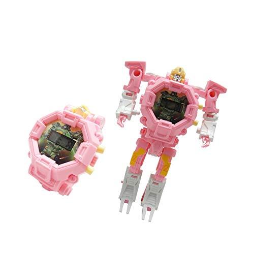 Toy Robot Watch,Children's Toy 2-in-1 Deformation Watch Toy Watch Robot, Educational Toy Game Watch, School Toy Gift(Pink)