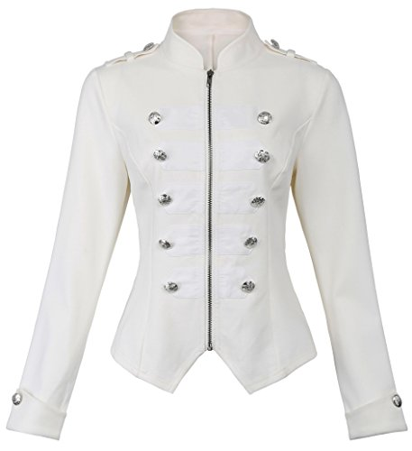 White Gothic Steampunk Military Jacket Blazer for Women Girls KK464-2 White Size - Coat Military Breasted Double