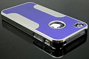 CELL PHONE COVER PROTECTOR FACEPLATE HARD CASE FOR APPLE IPHONE 4 4S 4G CHROME PURPLE SILVER CFO-G01-DP by Maris's Diary