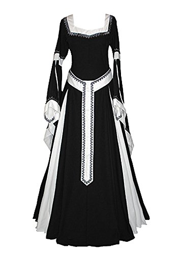 Misassy Womens Medieval Dress Renaissance Costumes Irish Over Long Dress Cosplay Retro Gown ()