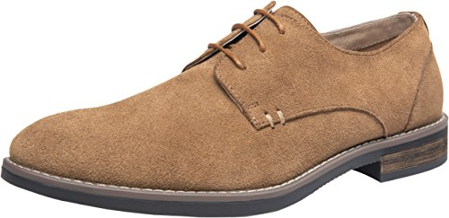 (JOUSEN Men's Oxford Suede Dress Shoes Leather Plain Toe Derby Shoes (9,Brown))