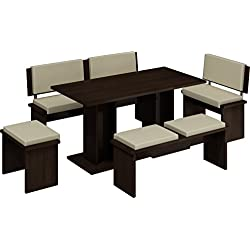 5 Pc Breakfast Kitchen Nook Table Set, Bench Seating, Dark Oak with Beige