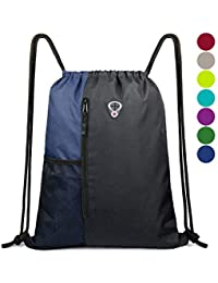 29970e4939 Drawstring Backpack Sports Gym Bag for Women Men Children Large Size with  Zipper and Water Bottle