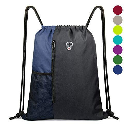 Drawstring Backpack Sports Gym Bag for Women Men Children Large Size with Zipper and Water Bottle Mesh Pockets (Black/Navy) -