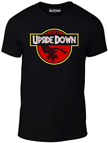 Reality Glitch Welcome to The Upside Down Men's T-Shirt - Inspired by Stranger Things (XXL, Black)