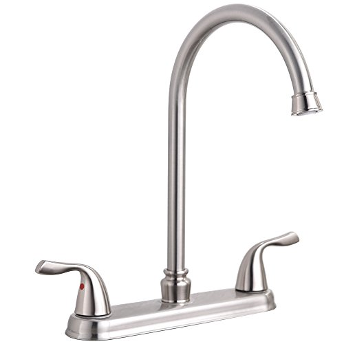 Hotis Commercial Stainless Steel Lead-Free Two Lever Two Hole Gooseneck High Arc Two Handle Kitchen Sink Faucet,Brushed Nickel Kitchen Faucet 3 Hole High Arch