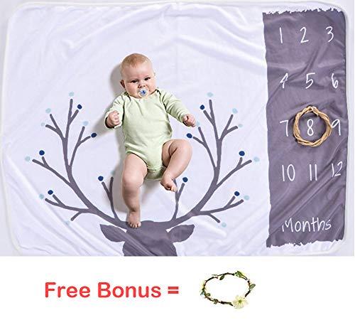 (Boy Milestone Blankets Newborn Baby Monthyly Growth Blankets Antlers Print Nursery Swaddling Blankets )