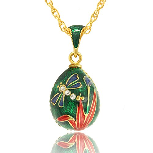 MYD Jewelry Color Enamel Dragonfly Faberge Style Easter Egg Pendant Necklace ()
