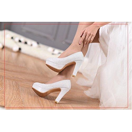 Scarpe Donna Damigella Silver Shoes Sposa Bridal 8cm In D'onore Abiti Da Beautiful Alte colore Silver Argento con 39 Tacchi Dimensioni Alti qYAEwWZ