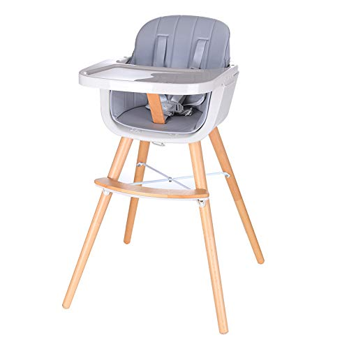 Foho Baby High Chair, Perfect 3 in 1 Convertible Wooden High Chair with Cushion, Removable Tray, and Adjustable Legs for Baby & Toddler, Grey