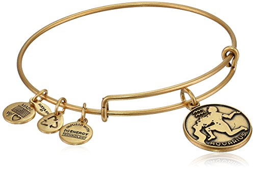 "Alex and Ani Rafaelian Gold-Tone Aquarius II Expandable Wire Bangle Bracelet,7.25"""