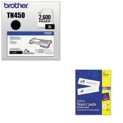 KITAVE5305BRTTN450 - Value Kit - Avery Medium Embossed Tent Cards (AVE5305) and Brother TN450 TN-450 High-Yield Toner (BRTTN450)