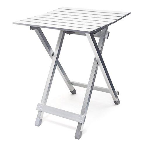 Relaxdays Klapptisch als wetterfester Beistelltisch HBT: 61 x 49,5 x 47,5 cm für den Garten als klappbarer Gartentisch für Camping Grillen Urlaub etc. aus robustem Aluminium, silber