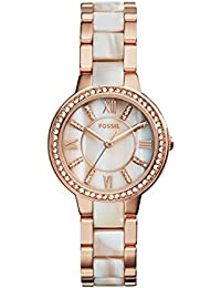 Women's Virginia Quartz Stainless Steel Horn Acetate Dress Watch, Rose Gold (Model: ES3716)