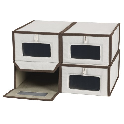 (Household Essentials Set of Four Small Shoe Storage Boxes, Natural Canvas with Brown Trim)