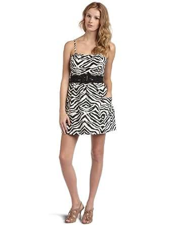 Jessica Simpson  Women's Zebra Print Dress with Pockets,Zebra Black/White,2