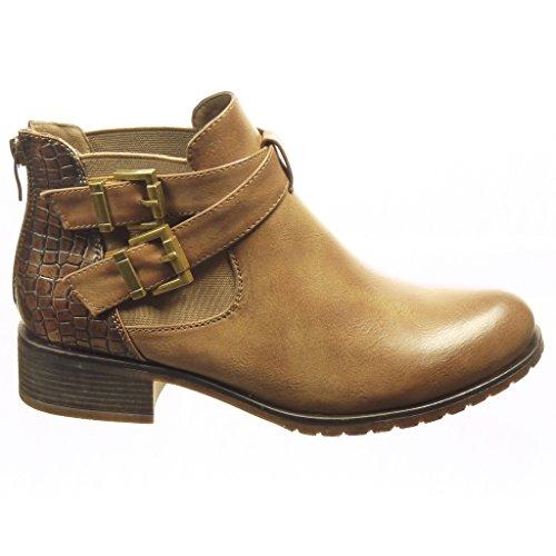 Angkorly - damen Schuhe Stiefeletten - Chelsea Boots - Schlangenhaut - String Tanga - Schleife Blockabsatz 3 CM Khaki