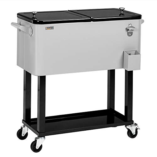 VINGLI 80 Quart Rolling Ice Chest, Portable Patio Party Bar Drink Cooler Cart, with Shelf, Beverage Pool with Bottle Opener,Grey