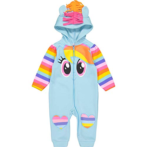My Little Pony Rainbow Dash Baby Girls' Fleece Costume Coverall with Hood, 12M, Blue]()