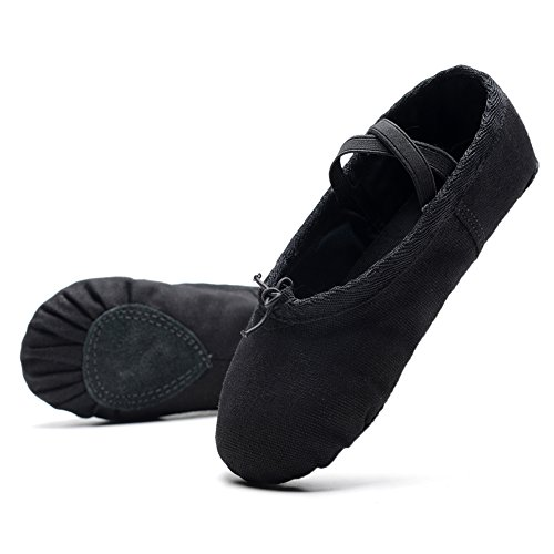 Soles Canvas (KONHILL Ballet Dance Shoes Canvas Split-Sole Slippers Flat Yoga Shoes For Girls (Toddler/Little Kid/Big Kid), Black, 40)
