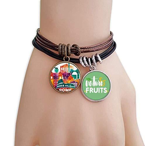 DIYthinker Italy Rome Landscape Customs Landmark Bracelet Rope Natural Fruit Wristband