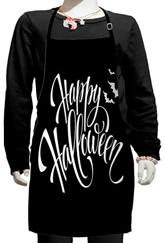 Lunarable Halloween Kids Apron, Monochrome Happy Halloween Seasonal Message and Flying Bats on Dark Background, Boys Girls Apron Bib with Adjustable Ties for Cooking Baking and Painting, Black White