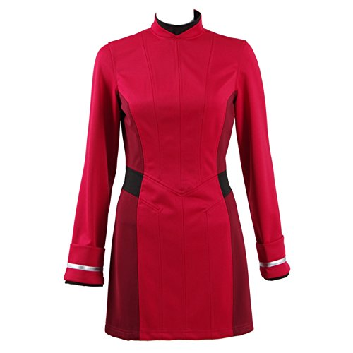 TISEA Halloween Female Captain Officer Duty Dress Cosplay Costume Red Uniform (M)