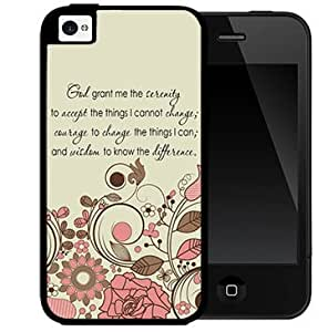Cute Pink Floral Vector with God Serenity Courage Quote (iPhone 4/4s) 2-piece Dual Layer High Impact Black Silicone Cover Case
