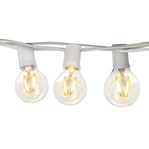 White Outdoor String Lights - Brightech Ambience PRO Waterproof Globe Outdoor String Lights - G40 LED Vintage Edison Bulbs - 26 Ft Commercial Grade Gazebo Hanging Lights - Ambience for Patio Garden Porch Backyard -Wht
