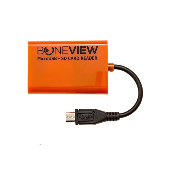 BoneView SD Card Reader for Android – Smartphone Trail Camera Viewer Plays Deer Hunting Game Cam Photo & Video Memory Chips on Smartphone, Connects via Micro-USB, or Free Type-C OTG Adapter Included