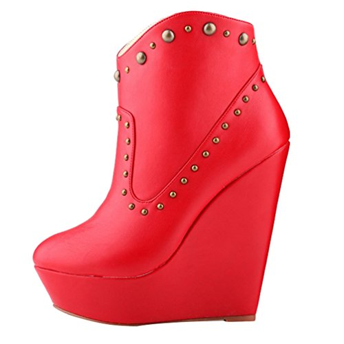 Boots Corti Zeppa Moda Stivaletti PU Scarponcini Moda Rosso Alta da Donna Stivaletti Autunno WanYang wYqaxztSY
