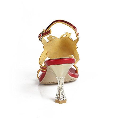 7 Diamante Eur Sandali Le Medio Festa Donna Nozze Tacco uk Di Sera Nuziale Zpl Cinghietti Signore Rosso 40 Ballo Anno Fine w1IgqRx