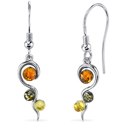 Baltic Amber Squiggle Earrings Sterling Silver Green Honey Cognac Colors ()