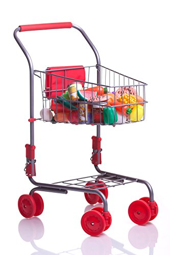 MMP Living Pretend Play Shopping Cart w/ 51 Pcs of Grocery Food, Red (Toy Grocery Cart With Food compare prices)