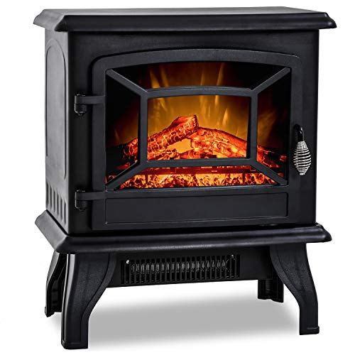 "20""H Electric Fireplace Heater,Portable Freestanding Fireplace Stove Space Heater Thermostat CSA Approved Realistic Flame Logs Vintage Design,17"" L x 10"" W x 20"" H Black"