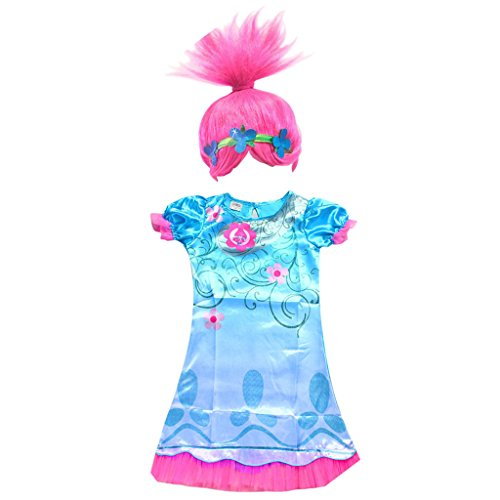 Girls Poppy Dress Troll Wig Set for Halloween Party Trolls Cosplay Costume