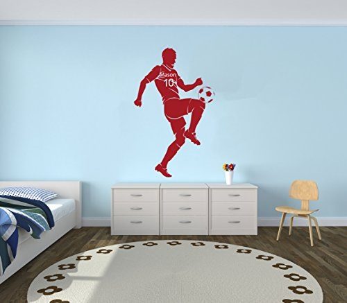 Personalized Name Soccer Player Wall Decal - Boy Girl Unisex