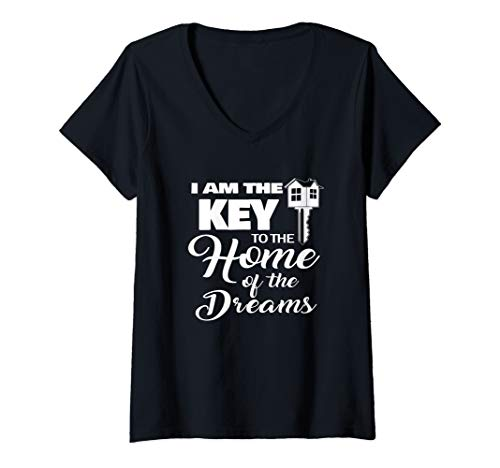 Womens Realtor Gift Real Estate Agent Advertising I Am The Key V-Neck T-Shirt (Best Advertising For Realtors)